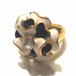 Fashion Ring Flower Diamond Gold Black White 6